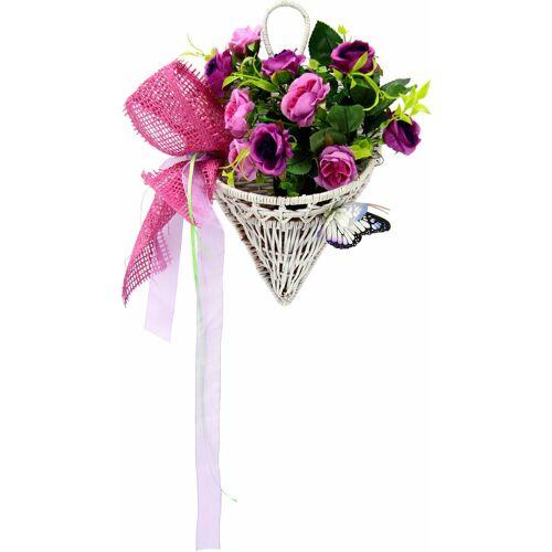 I.GE.A. Kunstpflanze »Rosen mit Schmetterling im Korb 30 cm« Rosen, , Höhe 30 cm