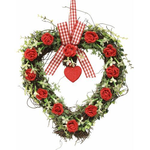 Kunstpflanze »Rattan-Herz Rosen 27 cm« Rosen, Höhe 32 cm