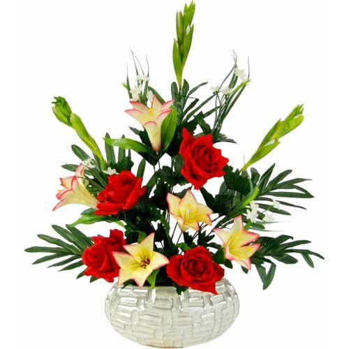 Kunstpflanze »Arrangement Lilien/Rosen 62/37 cm« Lilien/Rosen, Höhe 62 cm