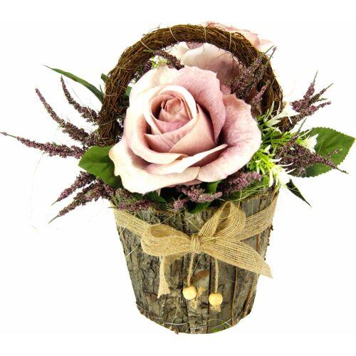 Kunstpflanze »Gesteck Rosen in Rindentopf«