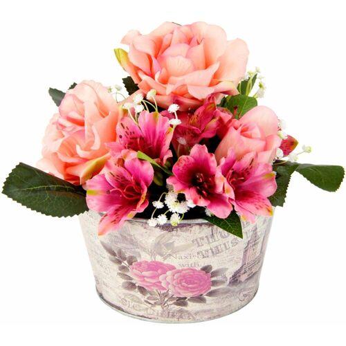 Kunstpflanze »Gesteck Rosen in Zinktopf«