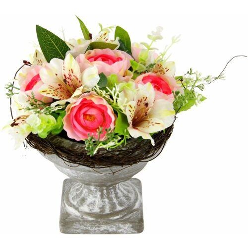 Kunstpflanze »Gesteck Ranunkel in Pokal«, weiß/rosa