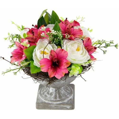 Kunstpflanze »Gesteck Ranunkel in Pokal«, Höhe 19 cm, rosa/weiß