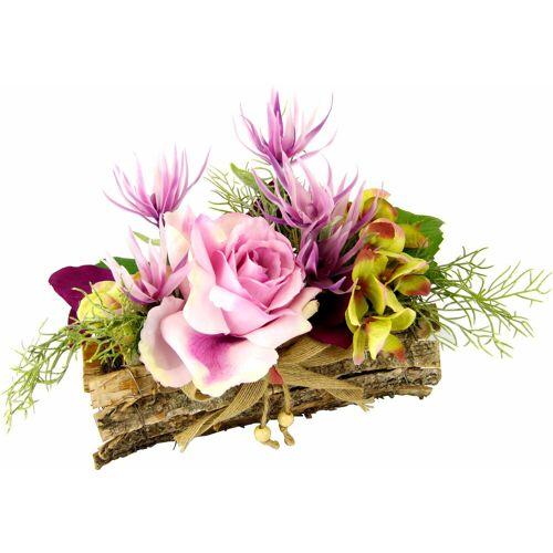 Kunstpflanze »Gesteck Rose in Schale«, Höhe 25 cm