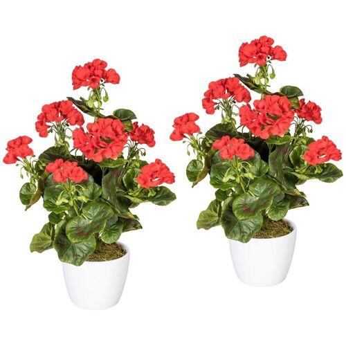 Gasper Kunstpflanze »Geranienbusch rot«, 2er Set, im Keramiktopf, H: 40 cm, rot