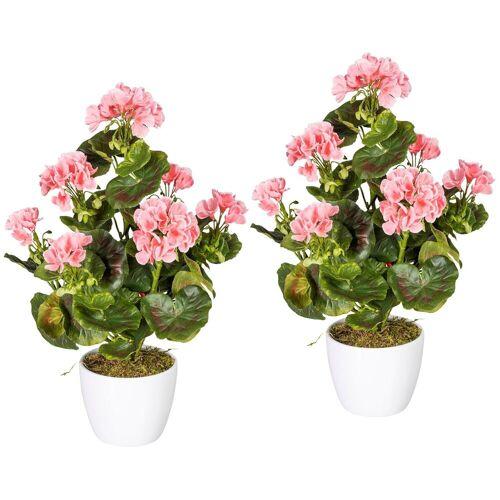 Gasper Kunstpflanze »Geranienbusch rosa«, 2er Set, im Keramiktopf, H: 40 cm, rot