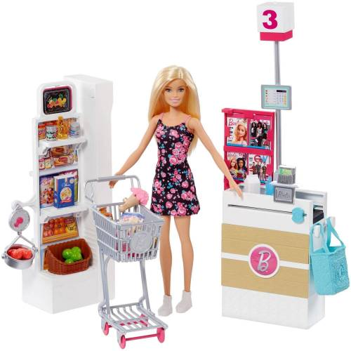 Mattel Anziehpuppe »Barbie Supermarkt und Puppe« (Set, 20-tlg., inkl. Supermarkt)