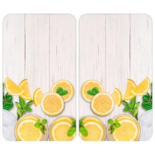 WENKO Herd-Abdeckplatte »Universal Zitronen«, Glas, Kunststoff, (Set, 2 tlg)