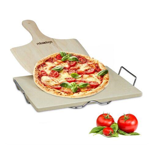 relaxdays Pizzastein »Pizzastein Set 1,5 cm«, Cordierit