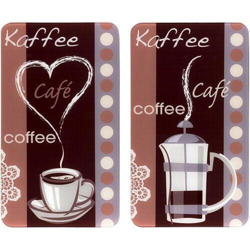 WENKO Herd-Abdeckplatte »Kaffeeduft«, Glas, (Set, 2 tlg), Spezialfüße
