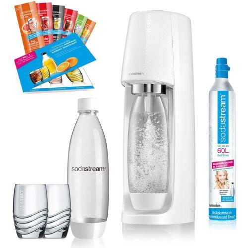 SodaStream Wassersprudler »Easy«, (Set, 12-tlg., 1 Wassersprudler, 1 CO2-Zylinder, 2 PET-Flaschen, 2 Gläser, 6 Sirupproben), Promopack, weiß