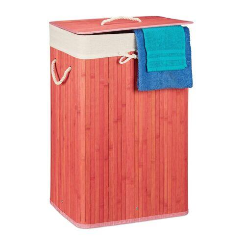 relaxdays Wäschekorb »Wäschekorb Bambus eckig«, Pink