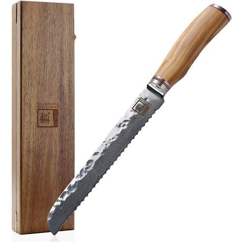 ZAYIKO Brotmesser, Klingenlänge 20 cm, japanischer Damaststahl VG-10