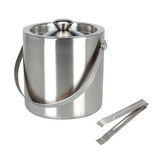 BigDean Eiswürfelbehälter »rund mit Deckel, Eiszange, Eiswürfel−K«, Edelstahl, (1-tlg)