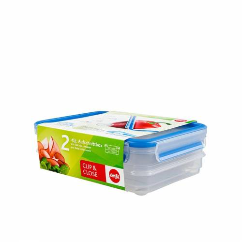 Emsa Aufbewahrungsbox »Aufschnittbox 2x 0,6 Liter Clip Close«, Kunststoff