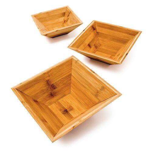 relaxdays Dekoschale »Dekoschale 3er Set Bambus eckig«