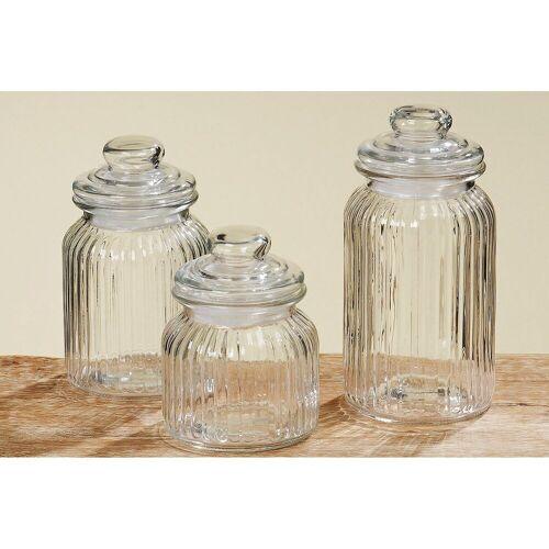 BOLTZE Vorratsdose »3er Set Bonbonglas Nostalgie Glas Behälter Vorratsdose«, Glas, (3-tlg)
