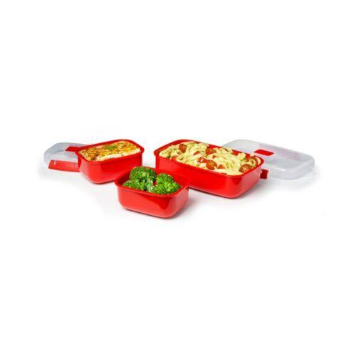 sistema Mikrowellenbehälter »Mikrowellengeschirr Heat & Eat 3er-Set, rot«, Kunststoff lebensmittelsicher