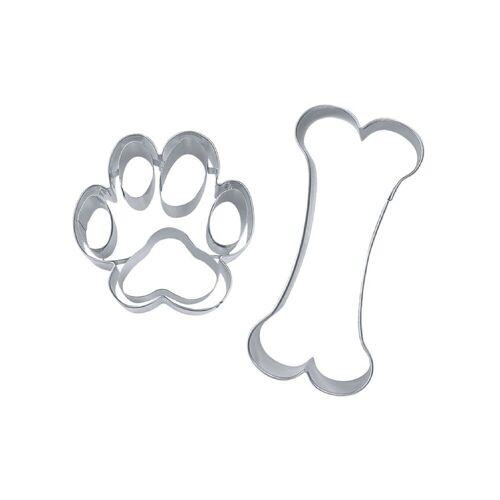 STÄDTER Ausstechform »Ausstecher Set Hundesnack ca. 7,5–9,5 cm«, Edelstahl, Hundeausstecher, Hund und Pfote Ausstecher