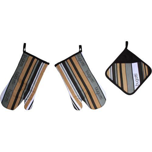 Bugatti Topfhandschuhe »Tape«, (Set, 3-tlg., bestehend aus 2x Ofenhandschuh, 1x Topflappen)
