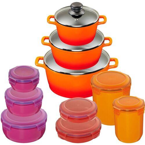 KING Topf-Set »Shine Orange«, Aluminiumguss, (Set, 10-tlg., 3 Töpfe, 3 Deckel, 7 Dosen), Induktion