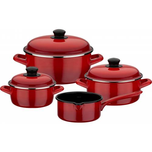 GSW Topf-Set »Red Shadow«, Emaille, (Set, 7-tlg), Induktion