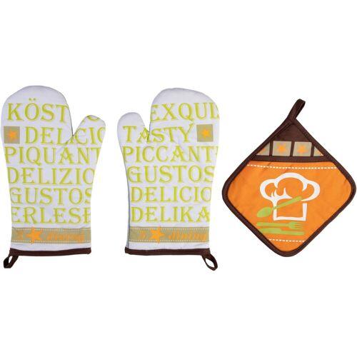 stuco Topfhandschuhe »Gustoso«, (Set, 3-tlg., bestehend aus 2x Ofenhandschuh, 1x Topflappen)