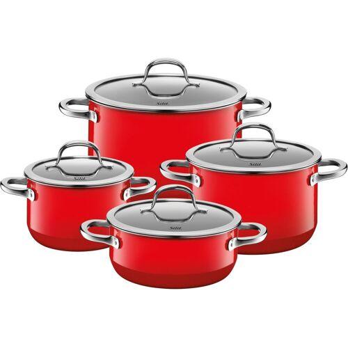 Silit Topf-Set »Passion Red«, Silargan®, (Set, 8-tlg), Silargan, Induktion, Glasdeckel