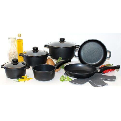 Elo - Meine Küche Topf-Set, Aluminiumguss, (Set, 10-tlg., 4 Töpfe, 3, Deckel, 2 Pfannen, 1 Paar Pfannenschoner)