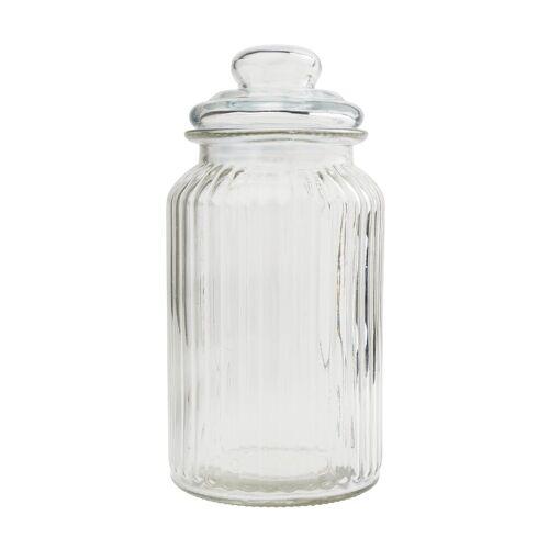 "VBS Vorratsglas/Bonbonglas ""geriffeltem Glas"" 1250 ml"