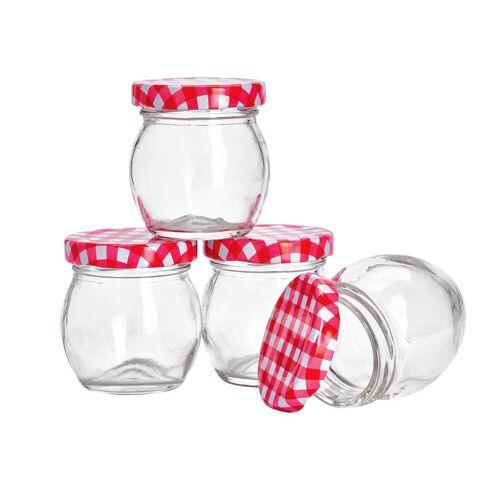 VBS Einmachglas, Glas, bauchig, 4 Stück