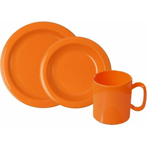 WACA Frühstücks-Geschirrset (6-tlg), Kunststoff, orange
