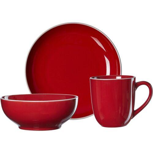 Ritzenhoff & Breker Frühstücks-Geschirrset »Linus« (3-tlg), Steinzeug, rot