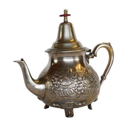 Casa Moro Teekanne »Marokkanische Teekanne Marrakesch Silber mit 4 Füßen, wiederaufbereitete alte Messing-Kanne aus Marokko, mit arabischen Mustern verziert, TA6028«, 1 l