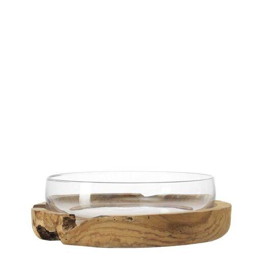 LEONARDO Schale »TERRA Glas Schale mit Teaksockel 39 cm«, Glas, (2-tlg)