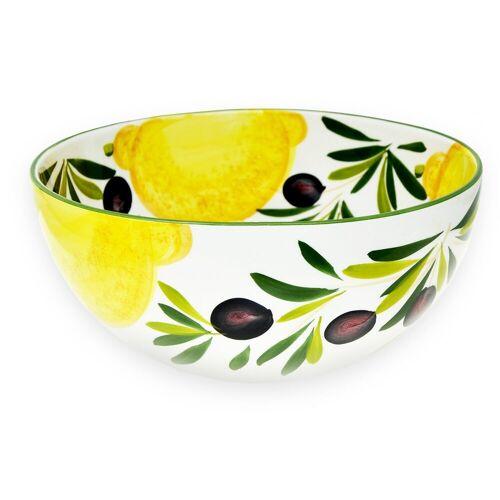 Lashuma Salatschüssel »Zitrone Olive«, Keramik, (Packung, 1-tlg), Runde Keramikschüssel, Servierschale Ø 26 cm