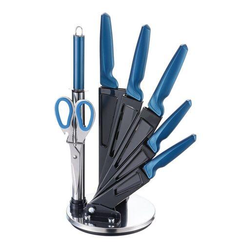 Michelino Messer-Set »8-teiliges Profi Messer-Set Messerblock sehr hochwertiges SelbstschärfenMesser Küchenmesser Set Kochmesser«, Blau