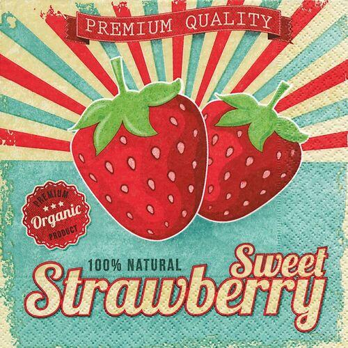 Paper+Design Papierserviette »Sweet Strawberry«, 33 cm x 33 cm