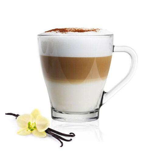 Sendez Gläser-Set »6 Cappuccino Kaffeegläser Teegläser 250 ml Henkel und 6 Edelstahl-Löffel GRATIS« (12-tlg), Glas