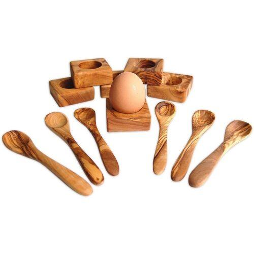 Olivenholz-erleben Olivenholz-erleben Eierbecher, (Set, 12-tlg., 6 Eierbecher, 6 Eierlöffel), Olivenholz, Handarbeit