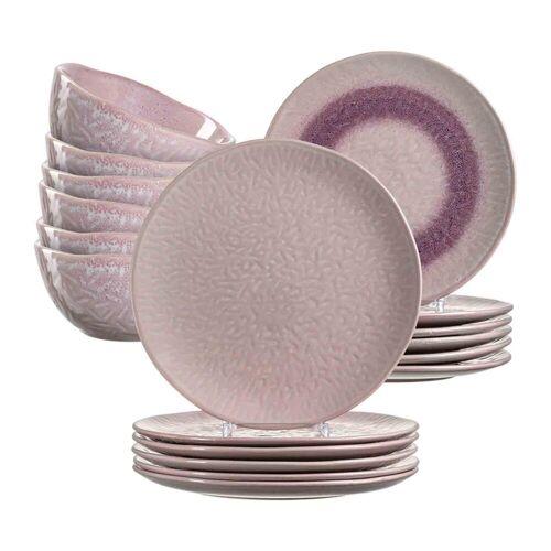 LEONARDO Geschirr-Set »MATERA Geschirr Tafelservice rosa 18-teilig« (18-tlg), Keramik
