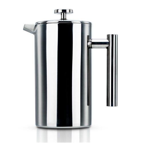 Intirilife Kaffeekanne »Kaffeekanne in SILBER – 1l Kaffeebereiter nach französischem Pressensystem aus Edelstahl«, Kaffeekanne – 1l Kaffeebereiter