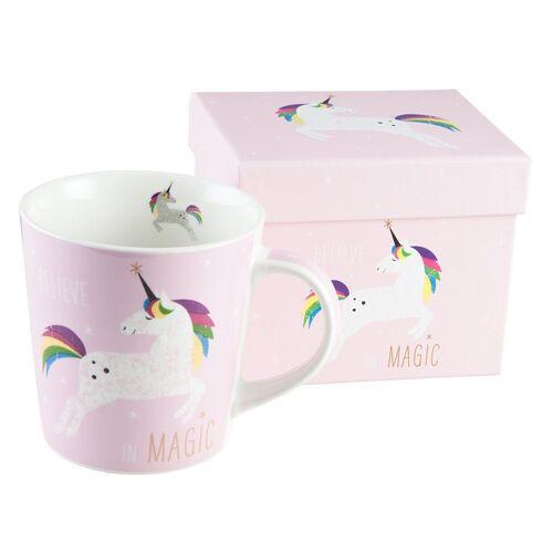 """PFIFF Tasse »Tasse / Becher """"Pink Unicorn"""" in Geschenkbox«"""