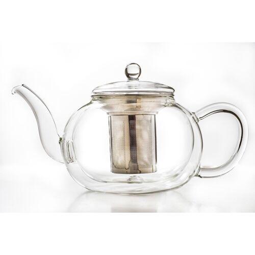 Creano Teekanne, 1,2 l, doppelwandig, Borosilikatglas, Edelstahl