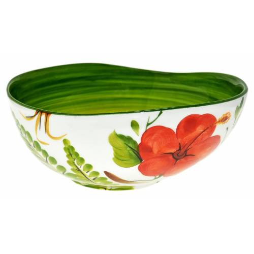 Lashuma Servierschüssel »Hibiskus«, Keramik, (1-tlg), Keramikschale Groß, Dekoschüssel Ø 24 cm