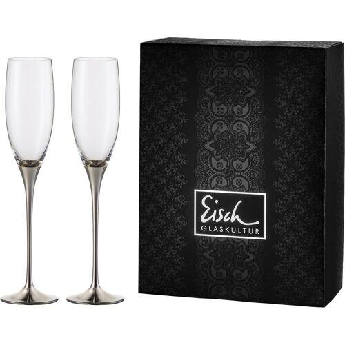 Eisch Sektglas »Champagner Exklusiv« (2-tlg), Kristallglas, Auflage in Platin, 180 ml