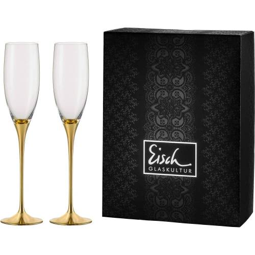 Eisch Sektglas »Champagner Exklusiv« (2-tlg), Kristallglas, Auflage in Echtgold, 180 ml