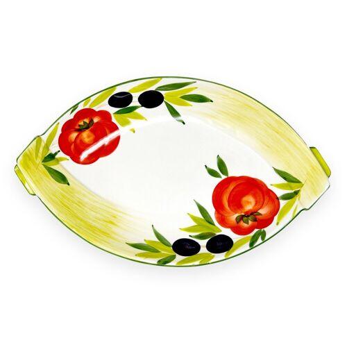 Lashuma Obstschale »Tomate Olive«, Keramik, (Packung, 1-tlg), Servierschale Oval, Keramikschüssel 33x20 cm