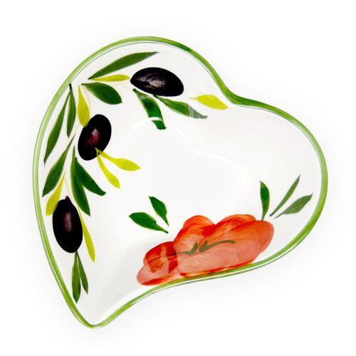 Lashuma Dipschale »Tomate Olive«, Keramik, (Packung, 1-tlg), Kleine Servierschüssel, Keramikschale 14x14 cm