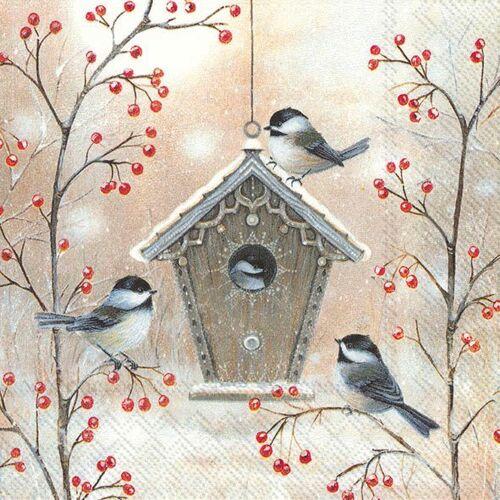 IHR Serviette 'Winterliches Vogelhaus'